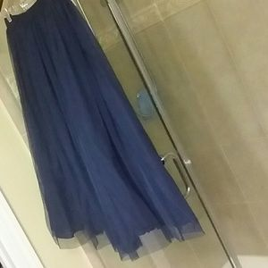 Navy Blue Tea Length Tulle Skirt